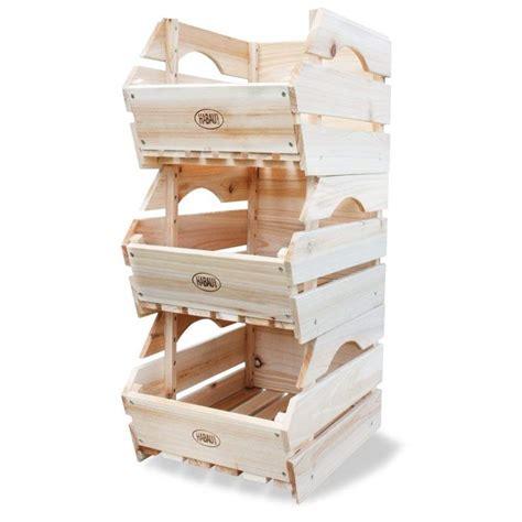 HABAU   Cajas de almacenaje para apilar  madera, 3 ...