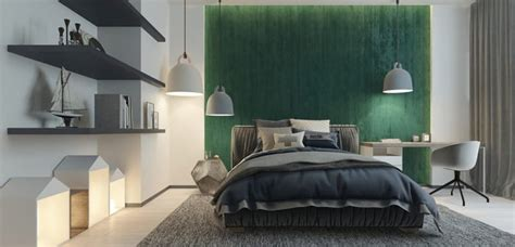 Habitación en color verde y gris   Decoora