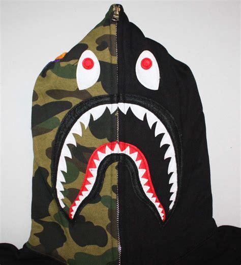 Half Camo Full Zip Bape Shark Hoodie | Dopestudent