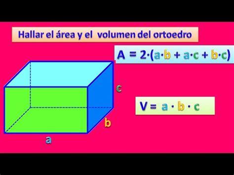 Hallar el área y el volumen del ortoedro   YouTube