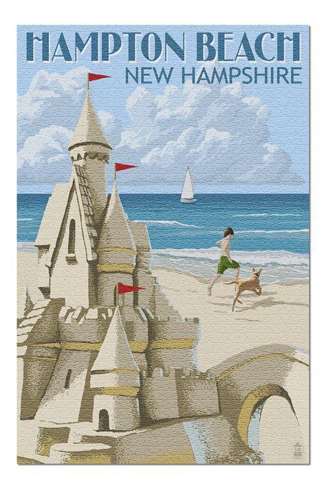 Hampton Beach, New Hampshire   Sand Castle  20x30 Premium ...