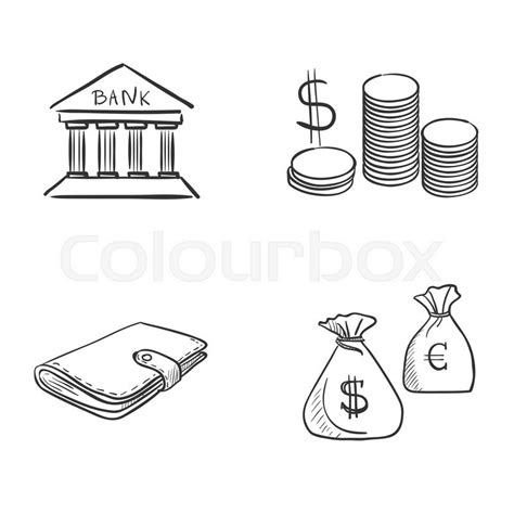 Hand draw doodle bank coin money cash ... | Stock Vector ...