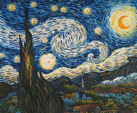 Hand painted High Quality Starry Night Landscape Oil ...