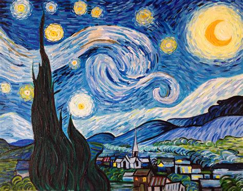Hand Painted Vincent van Gogh Starry Night Reproduction By ...