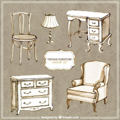 Hand painted vintage furniture Vector | Free Download