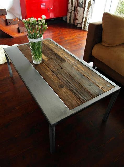 Handmade Rustic Reclaimed Wood & Steel Coffee Table Vintage