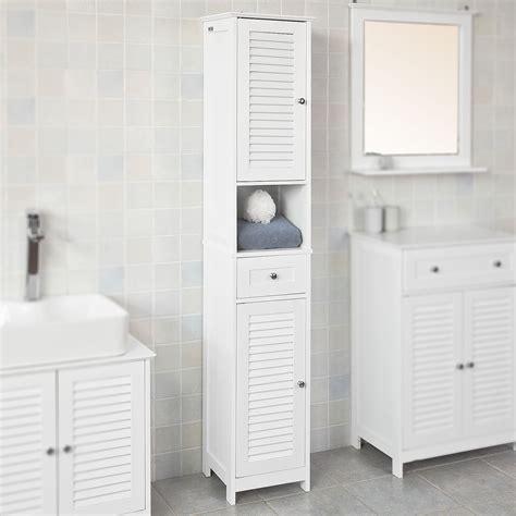 Haotian White Floor Standing Tall Bathroom Storage Cabinet ...