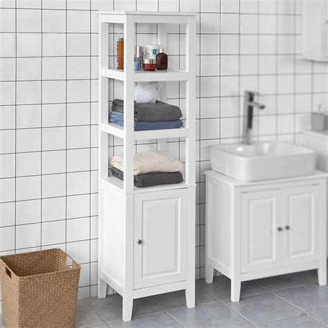 Haotian White Floor Standing Tall Bathroom Storage Cabinet ...