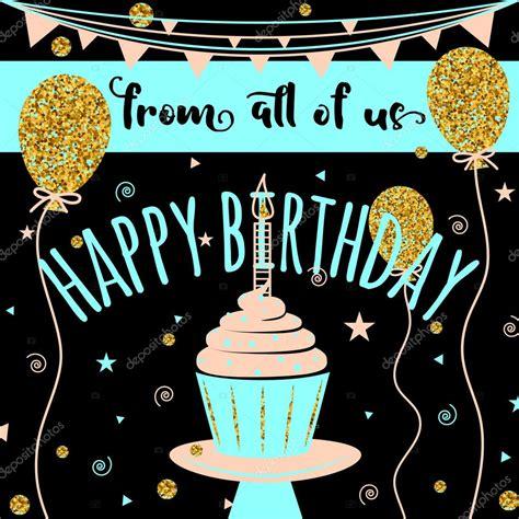 Happy Birthday vector greeting card. Felicitation ...