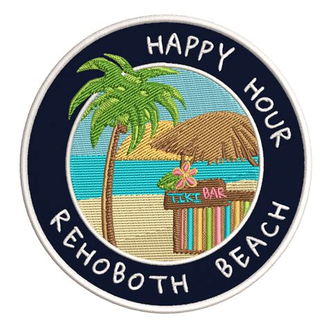 Happy Hour! Rehoboth Beach, Delaware 3.5 Inch Iron Or Sew ...