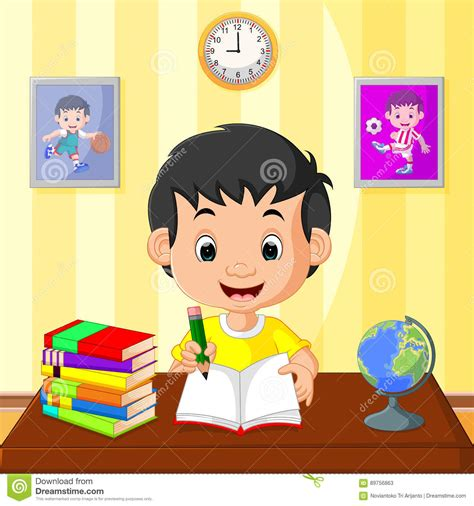 Happy kid studying stock vector. Illustration of book ...
