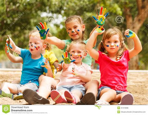 Happy Kids With Painted Hands Stock Photo   Image: 41419088