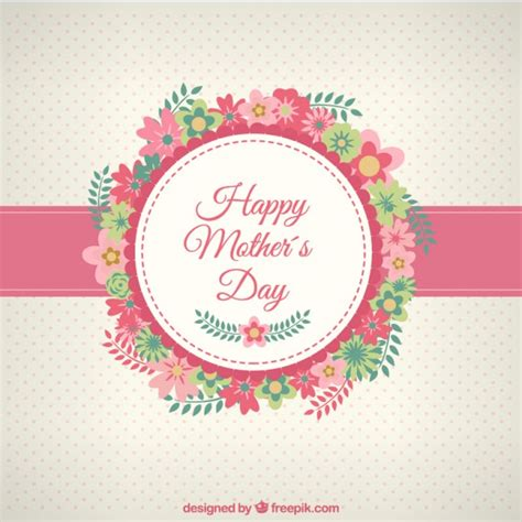 Happy mothers day card with flowers | Free Vector