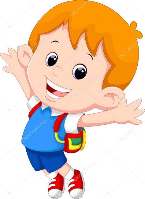 Happy school boy cartoon — Stock Vector  irwanjos2 #85854442