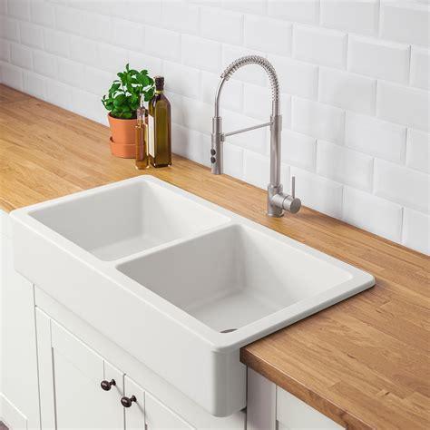 HAVSEN Apron front double bowl sink, white   IKEA
