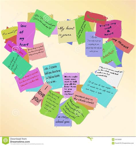 Heart Of Love Notes.  Vector  Stock Vector   Illustration ...