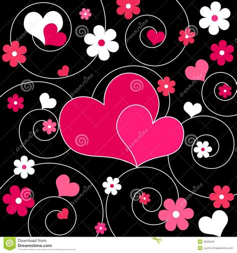 Hearts And Flowers   Vector Stock Vector   Illustration of ...