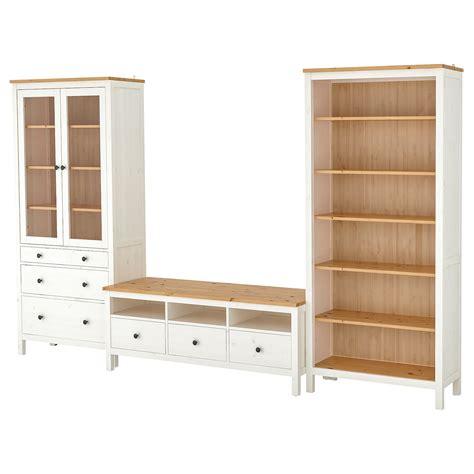 HEMNES Combinaison meuble TV, teinté blanc, brun clair ...