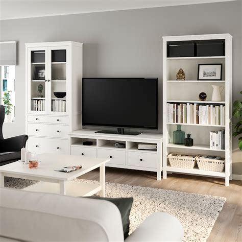 HEMNES Combinaison meuble TV, teinté blanc, verre ...