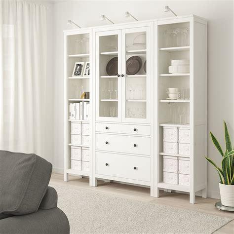 HEMNES Mueble salón   tinte blanco, vidrio incoloro   IKEA