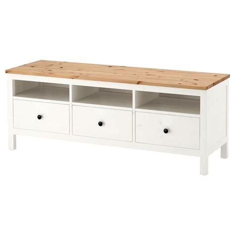 HEMNES TV bench   white stain, light brown   IKEA