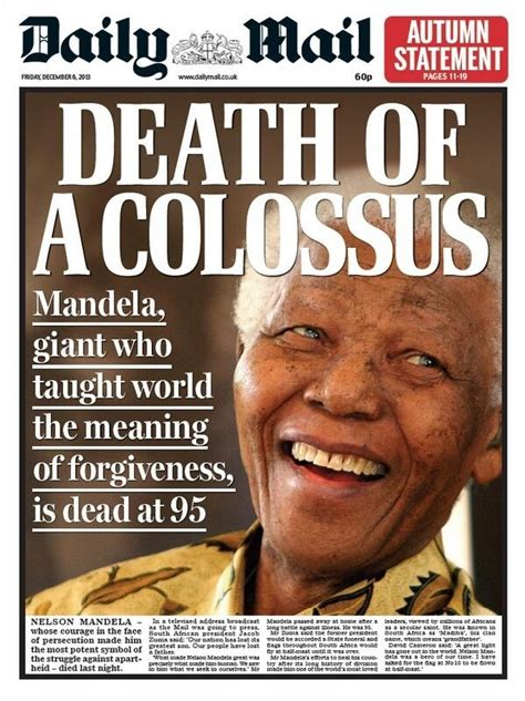 Here Are The UK Newspapers  Front Page Tributes To Nelson ...