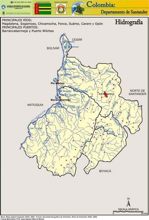 Hidrografía Departamento de Santander | Santander, Mapas ...