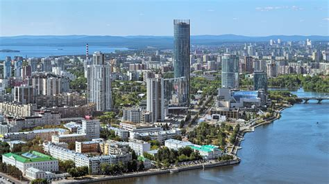 High Angle View Of The Yekaterinburgcity District In ...