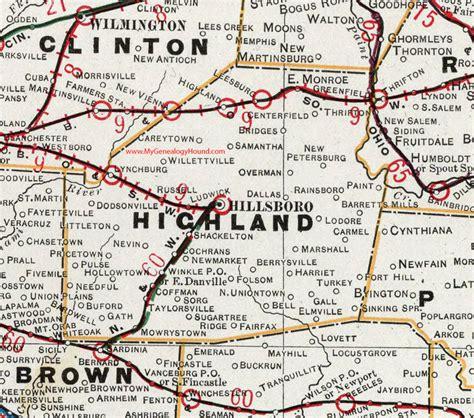 Highland County, Ohio 1901 Map Hillsboro, OH