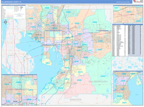 Hillsborough County, FL Wall Map Color Cast Style by ...