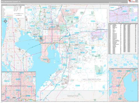 Hillsborough County, FL Wall Map Premium Style by MarketMAPS