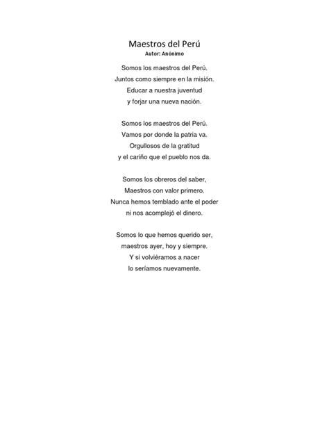 Himno a los Maestros del Perú letra