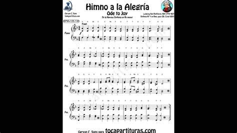 Himno de la Alegría Partitura para Piano muy fácil para ...