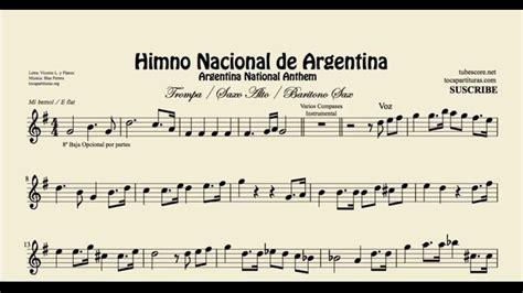 Himno Nacional de Argentina Partitura de Saxo Alto Saxo ...