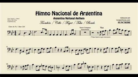 Himno Nacional de Argentina Partitura de Trombón Chelo ...