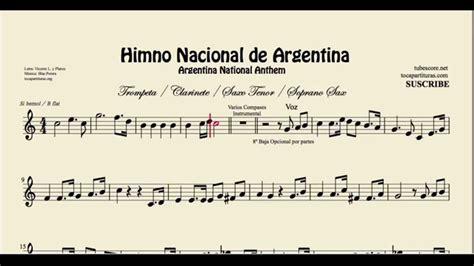 Himno Nacional de Argentina Partitura de Trompeta ...