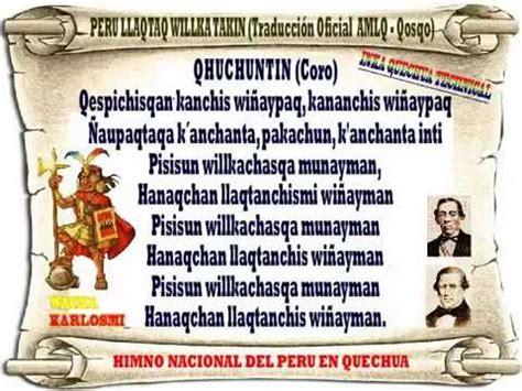 HIMNO NACIONAL DEL PERU, VERSION OFICIAL EN QUECHUA AMLQ Y ...