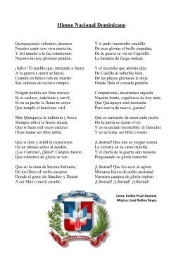HIMNO NACIONAL DOMINICANO Letra: Emilio Prud`Homme