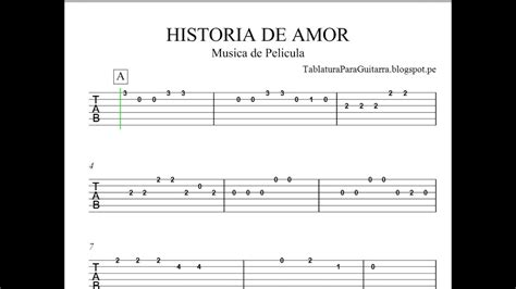 Historia de Amor  Love Story    Tablatura para Guitarra ...