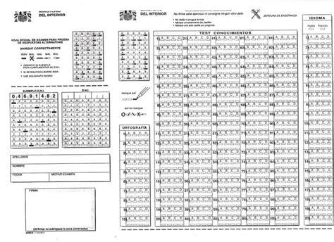 Hoja de respuestas examen Guardia Civil | Guardia Civil ...