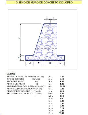 Hoja excel de diseño de muro de contención de concreto ...