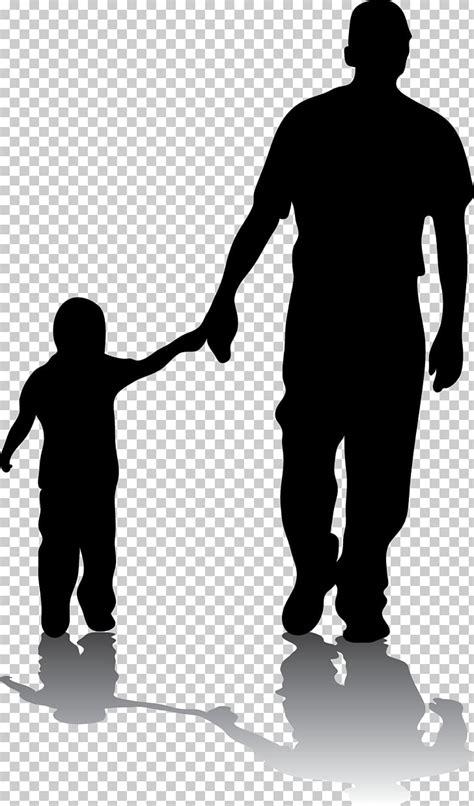 Hombre que sostiene la mano del niño, padre silueta hijo ...