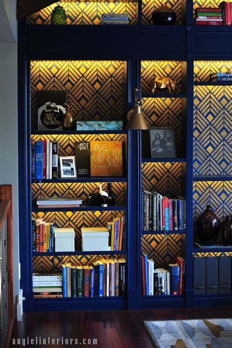 HOME LIBRARY   Bookshelves diy, Stencils wall, Billy bookcase