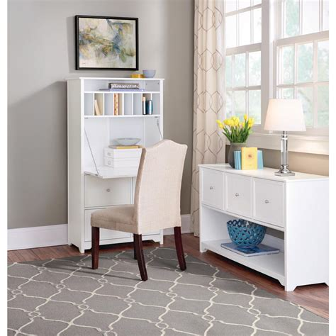 Home Office Furniture White Secretary Desk Solid Wood ...