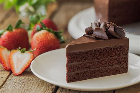Homemade Bakery Chocolate Fudge Cake Decorated With ...