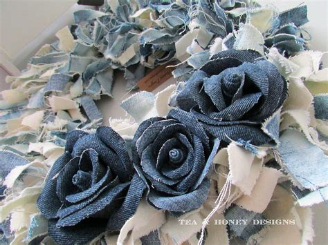Hometalk   How To Make A Denim Jeans Rag Wreath With Flowers