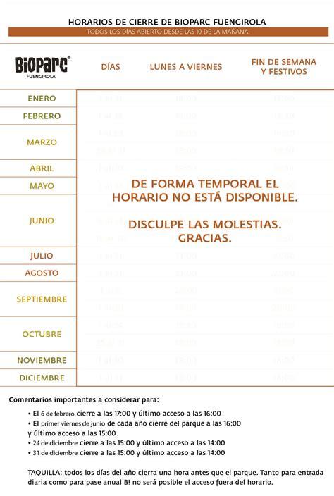 Horario anual   BIOPARC Fuengirola