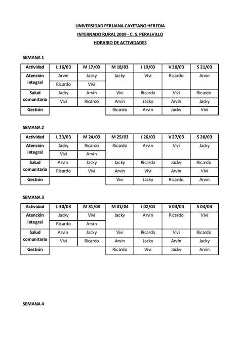 Horario Y Cronograma De Actividades
