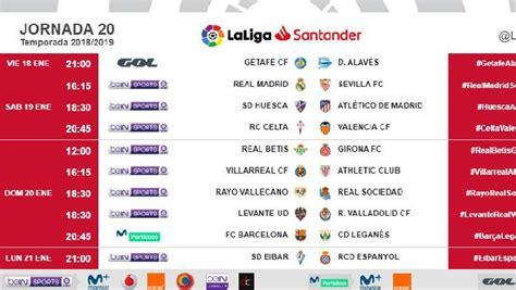 Horarios de la 20ª jornada de la Liga Santander