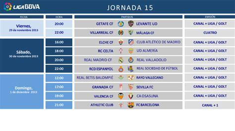 Horarios de la Jornada 15 de la Liga BBVA | Liga de Fútbol ...